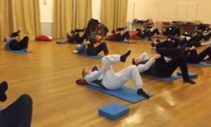 My committed Kingsland class...turning up for pilates tonight despite the cold weather.